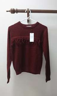 E hyphen world gallery x friends collaboration fringe tassel chocolate reddish brown knit sweater Japan rare