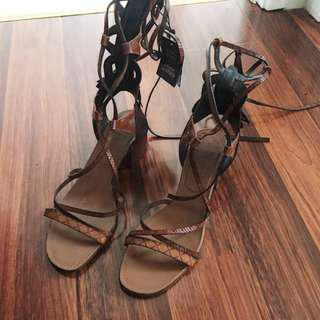 NEW Zara RRP$139 Lace Up Block Heel Sandals 37