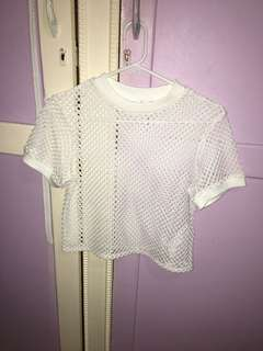 White fishnet top
