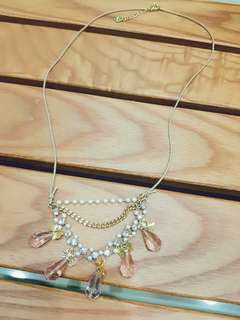 專櫃XING 雅典雙層珍珠鑽蝴蝶水滴蠟繩項鍊