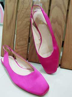 ZARA綢緞質感桃色低跟鞋
