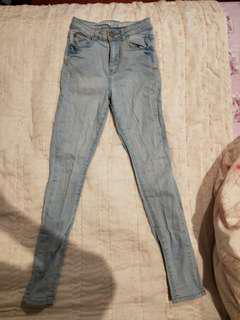 High waisted stretchy Light blue jeans