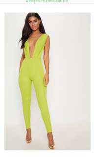 Pretty Little Thing lime bandage jumpsuit