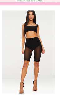 Pretty Little Thing black mesh shorts