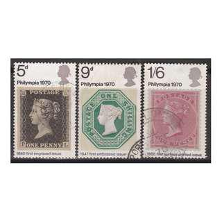Great Britain 1970 Philympia set of 3V Used SG#835-837 (S1059)