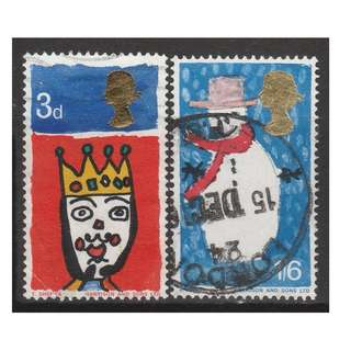 Great Britain 1966 Christmas set of 2V used (S1044)