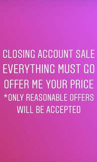 CLOSING ACCOUNT SALE