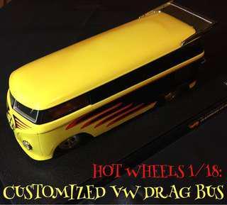 🔥Hot Wheels 1/18 scale CUSTOMIZED VW DRAG BUS