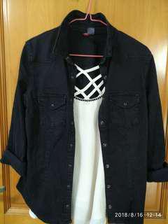 H&m黑色洗水收腰彈性恤衫外套