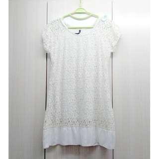 [85%New]米白色麻質通花連身裙White Linen One Piece Dress