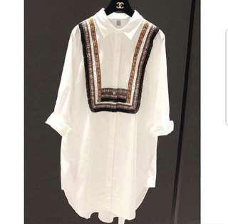 🌹🌹(M~5XL) long shirt dress blouse top long sleeves embroidery tussle plus size white color
