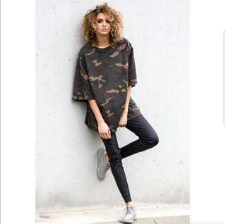 💥💥(S~6XL) Unisex Oversized Plus Size Camo Tee T-shirt Army pullover