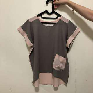 Xsml top grey pink size medium