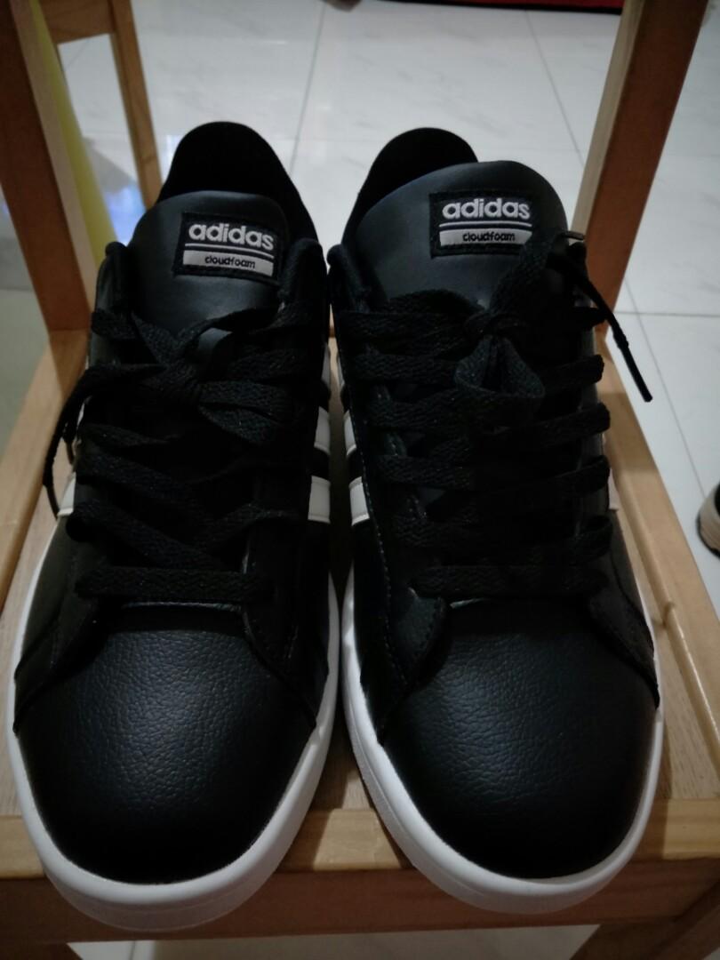 c2ec6143351 Adidas neo cloudfoam advantage w black white leather women tennis shoes