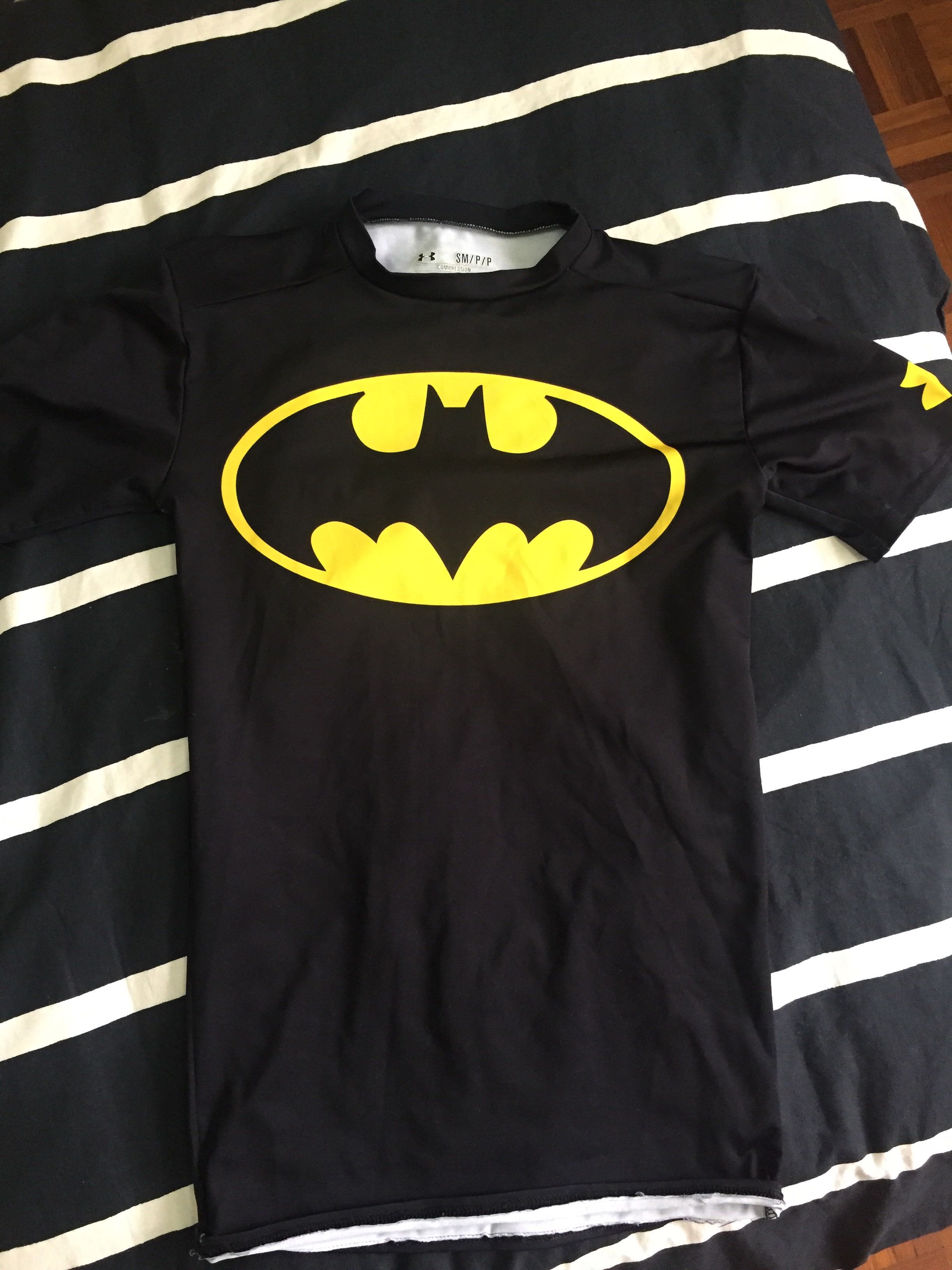 eed2ec69747cc Batman under armour gym tight shirt, Sports, Sports Apparel on Carousell