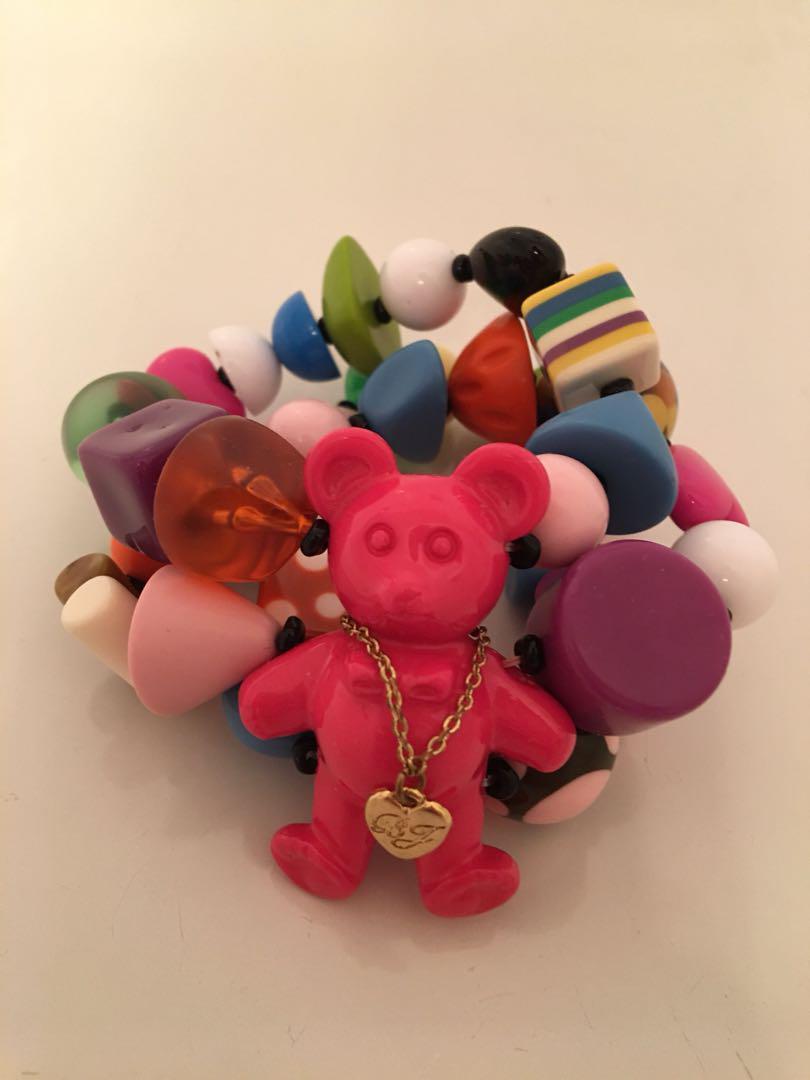 Betsy Johnson vintage Sweetie Pie Gummy Bear Candy Lucite Pieces Bracelet
