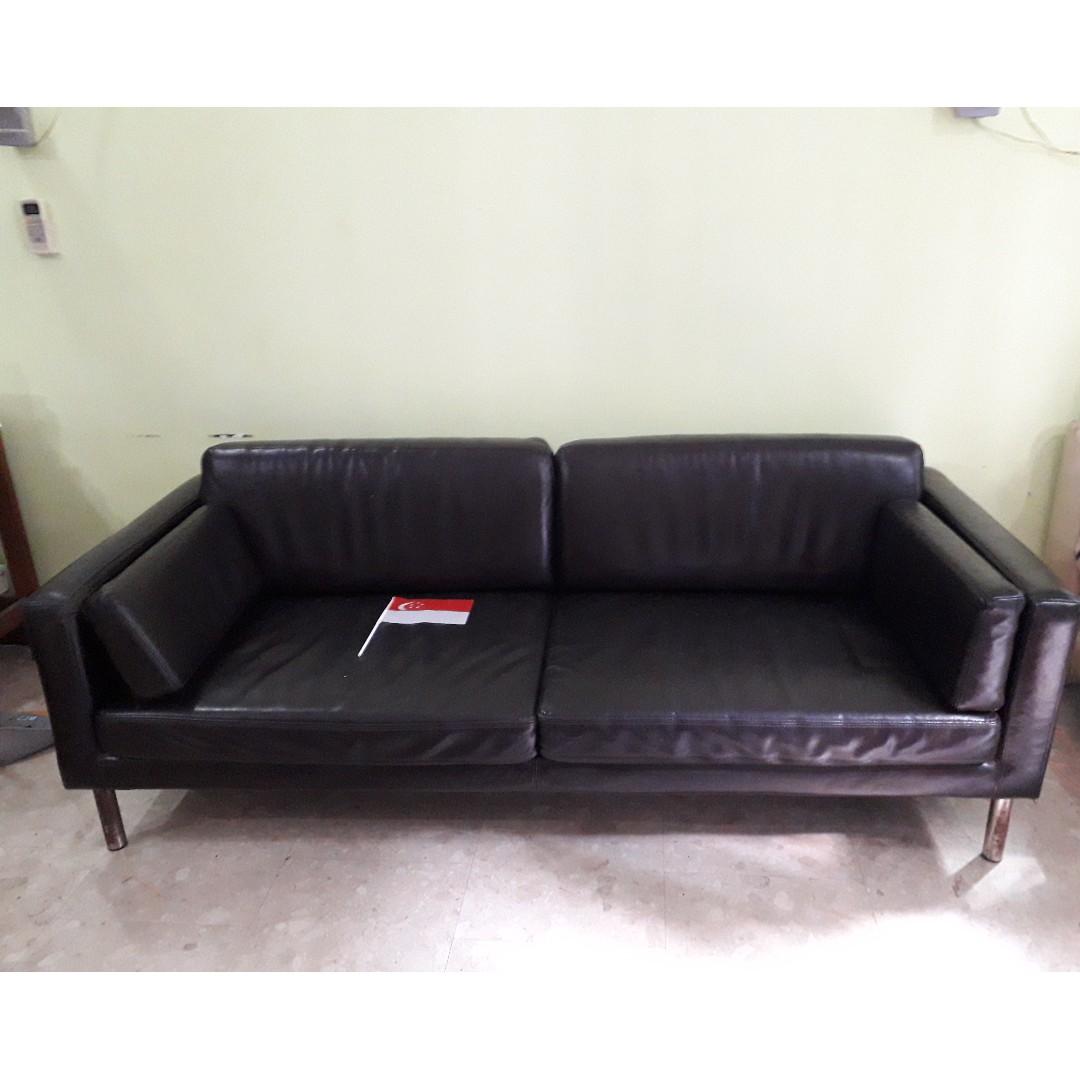 Black 3 Seater leather Sofa (IKEA), Furniture, Sofas on Carousell