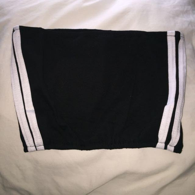 black tube top with white stripes