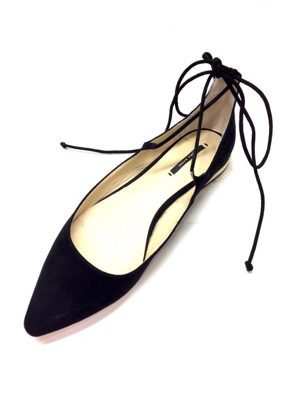 7e02c246234 BNWT ZARA SILVER POINTED-TOE WRAP AROUND ANKLE LACE-UP FLATS SHOES ...