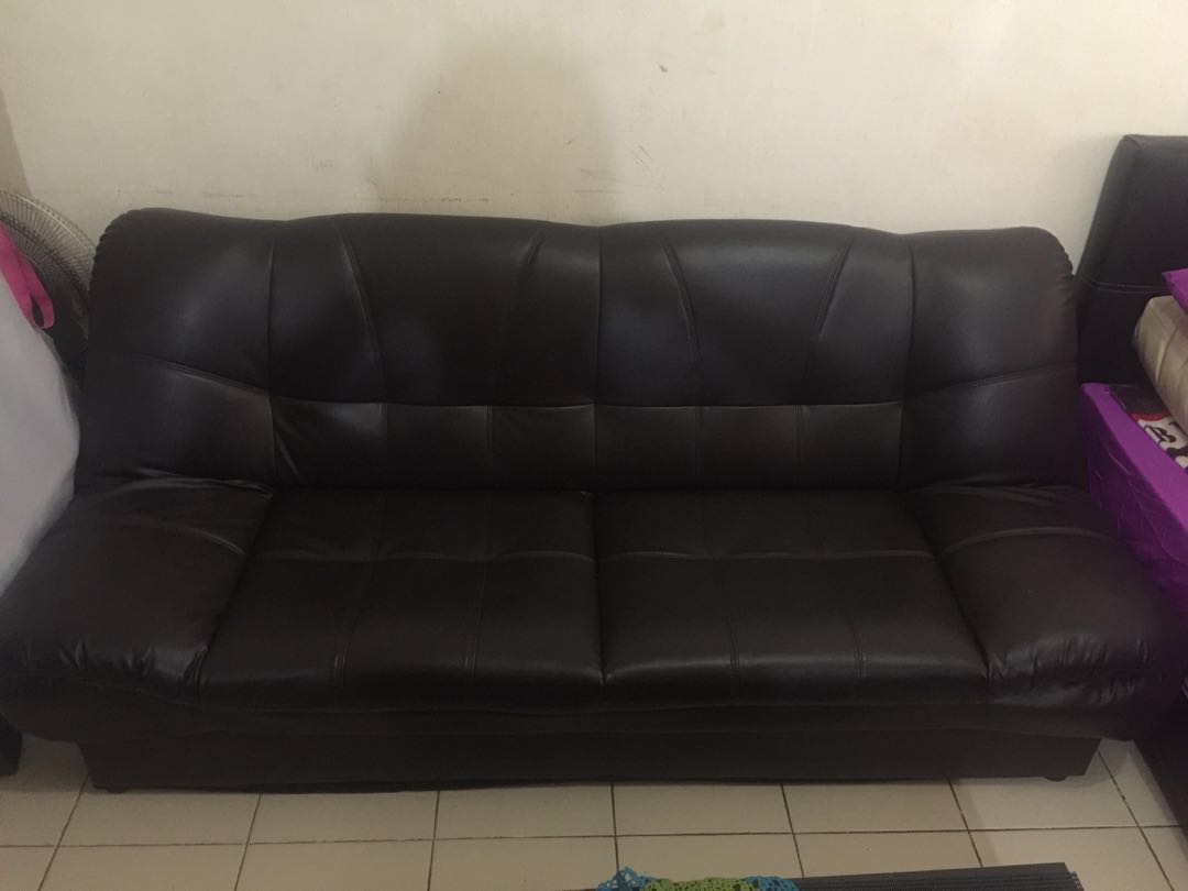 Brown Leather Faux Sofa Bed For Sale