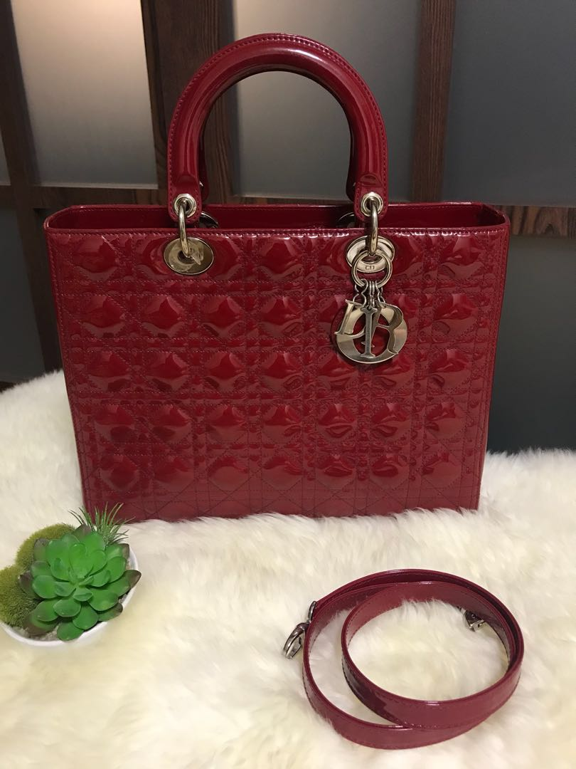 6df14ab4d8 Excellent Condition Lady Dior Large Red Patent With Shw , Luxury ...