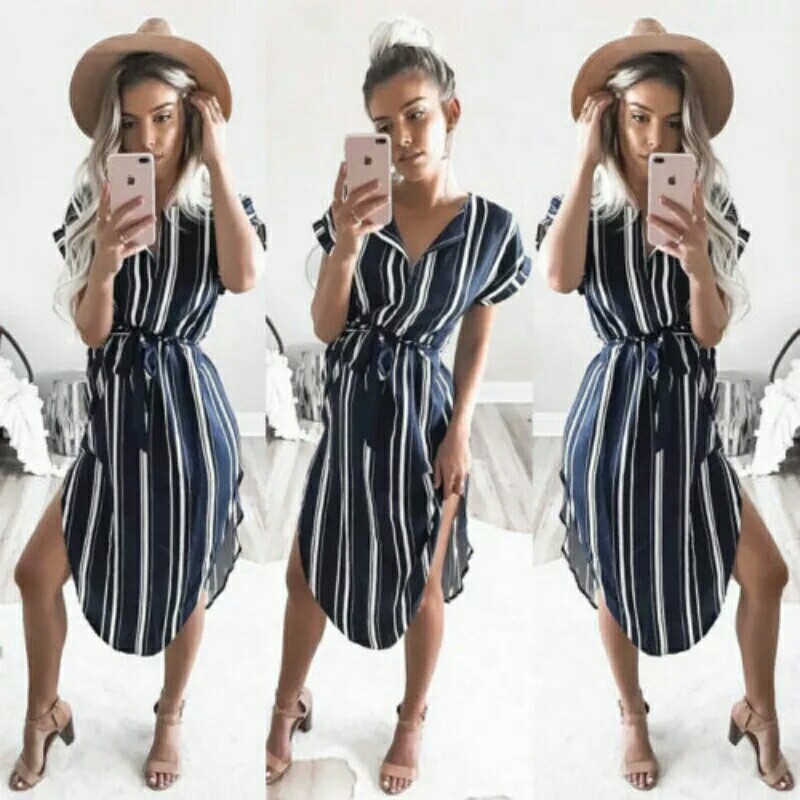 826d3de06734 Fashion Women Summer Striped V-Neck Short Sleeve Outfit Casual Loose ...