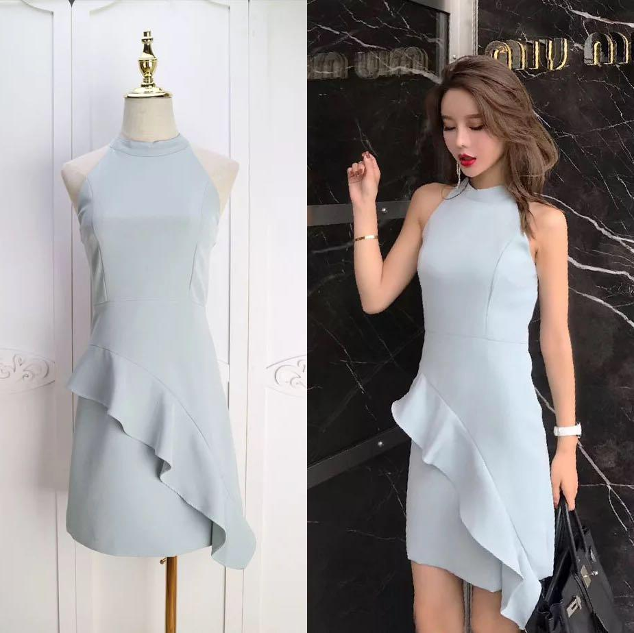Halter Dress Bodycon Ruffle Tight Fit Ladies Office Dress for