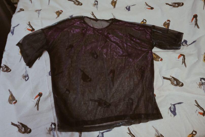 Irridescent Mesh top (Blue/Black/Purple)