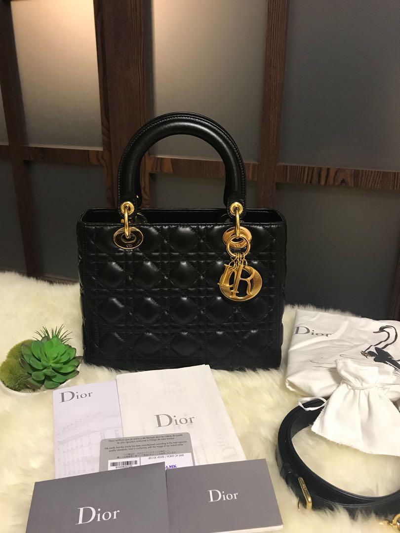 2a776a91c64b6 Like New Dior Lady Dior Medium Black With GHW