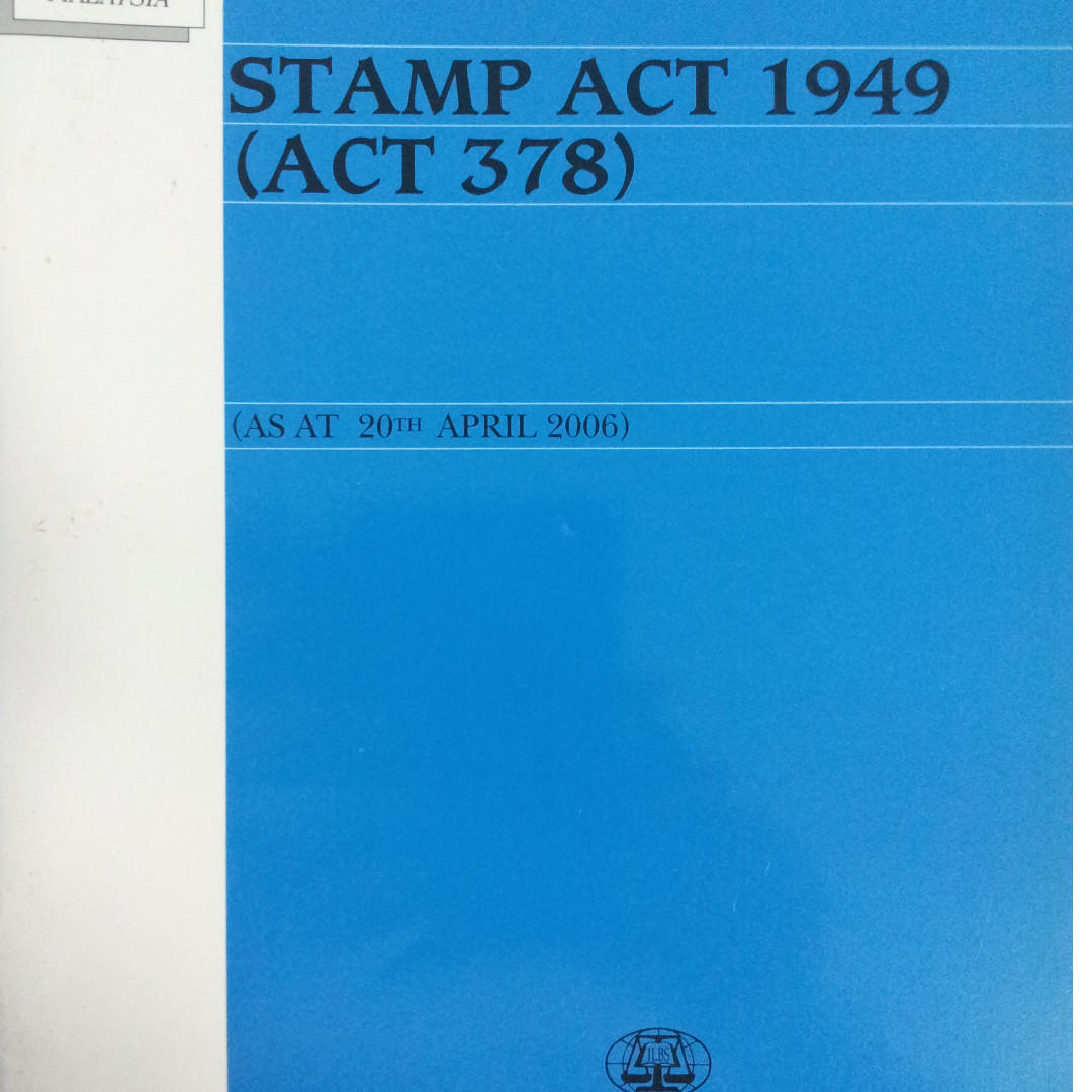 Malaysia Stamp Duty Act 1949 Books Stationery Textbooks Professional Studies On Carousell