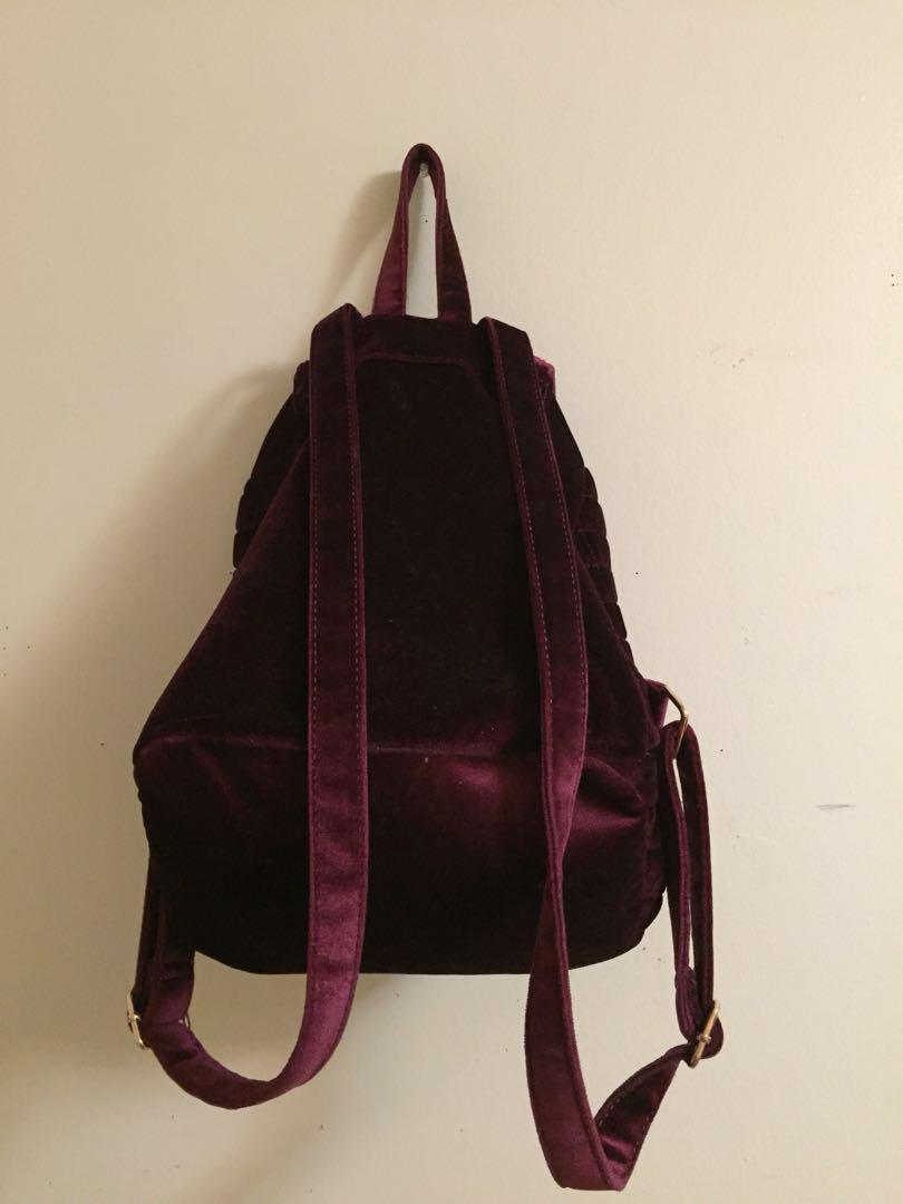 Maroon Velvet Backpack