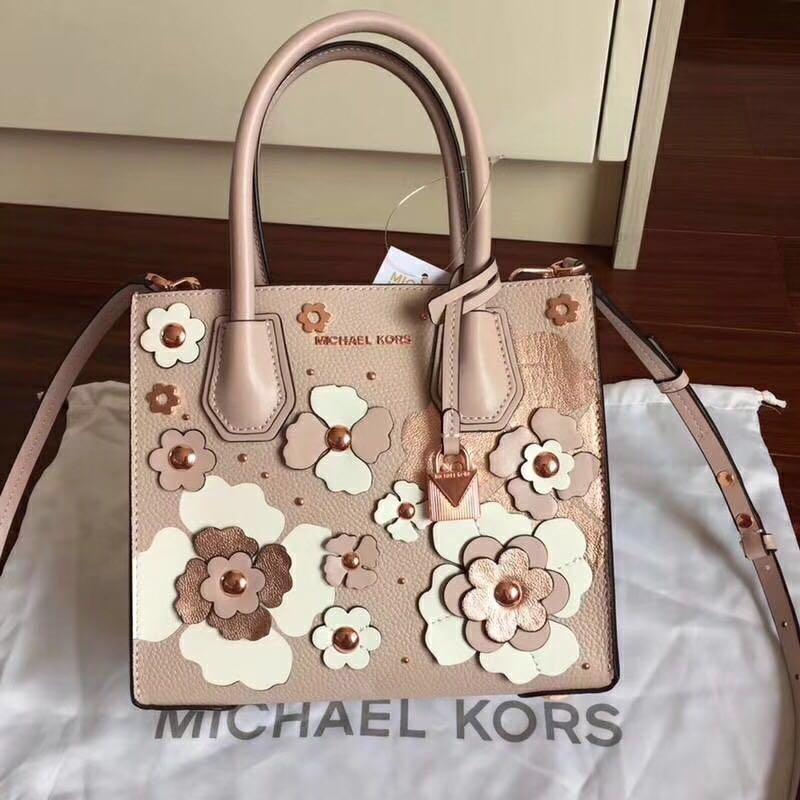 39433274ac5a0 Michael Kors Mercer Floral Embellished Leather Crossbody
