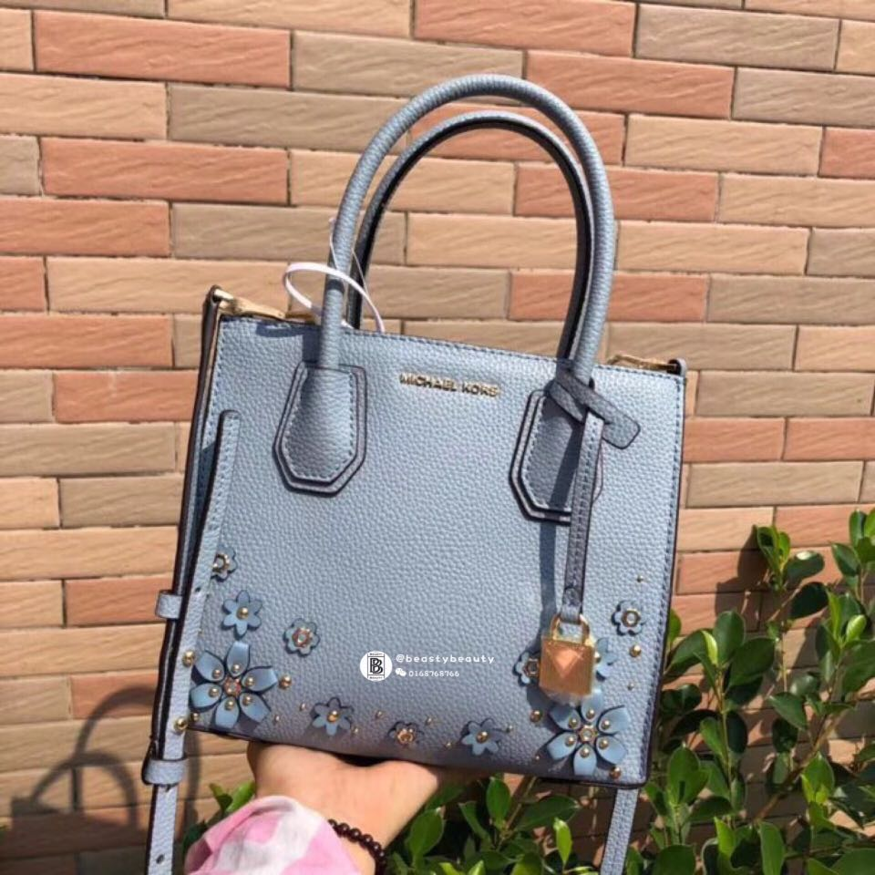 319efd658e42 Michael Kors Mercer Floral Embellished Leather Crossbody- light blue,  Luxury, Bags & Wallets di Carousell