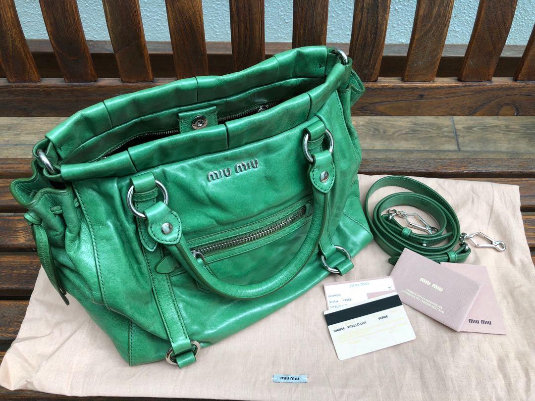 63decef620ec Miu Miu Vitello Lux Shopping Bag in Verde