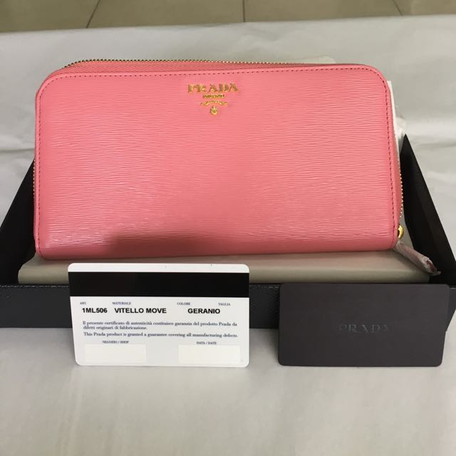 newest f729f d00ae New Prada Vitello Move Zip Around Wallet 1ML506, Luxury ...