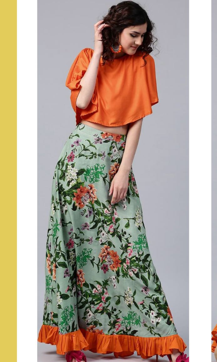 946ade1e7 Orange butterfly top with tube top and green floral maxi skirt ...
