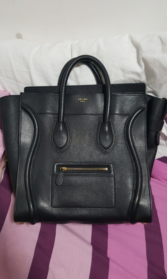 original CELINE micro black luggage pebbled leather tote d4be086217eee