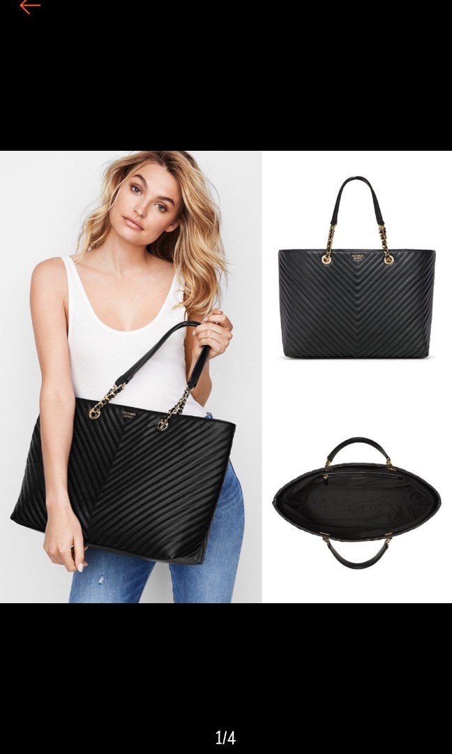 Po) Authentic Victoria s Secret Pebbled V-Quilt Everything Tote Bag ... 4bd0ad19f9c42
