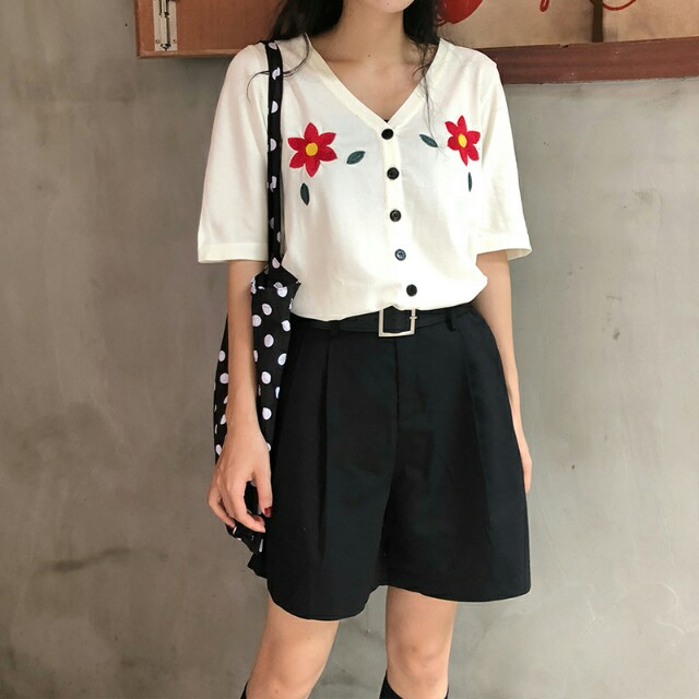 46e2e1196 PO Embroidery Simple Flower Double Chest Pattern Short Sleeve Button ...