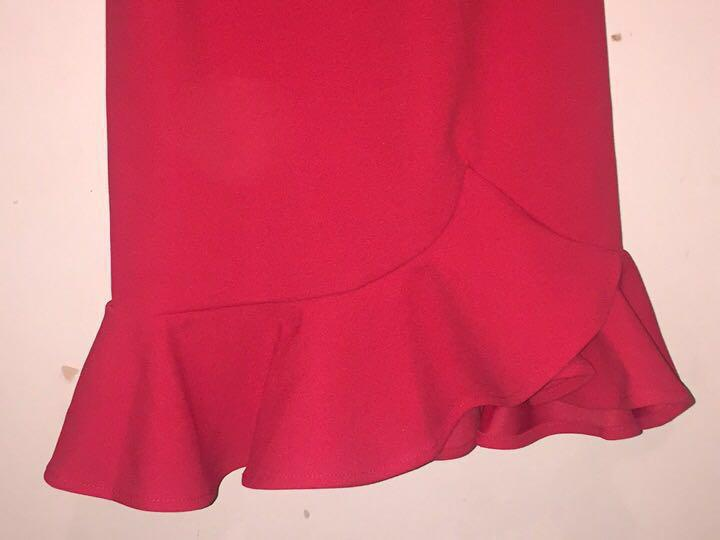 Red Frill Hem Dress