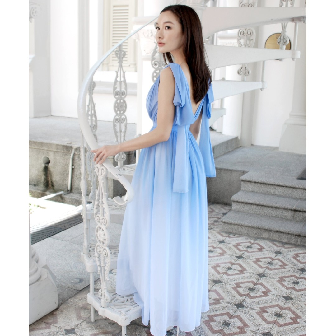 Theory Of Seven Claire Ribbon Back Sky Blue Ombre Maxi Dress Up