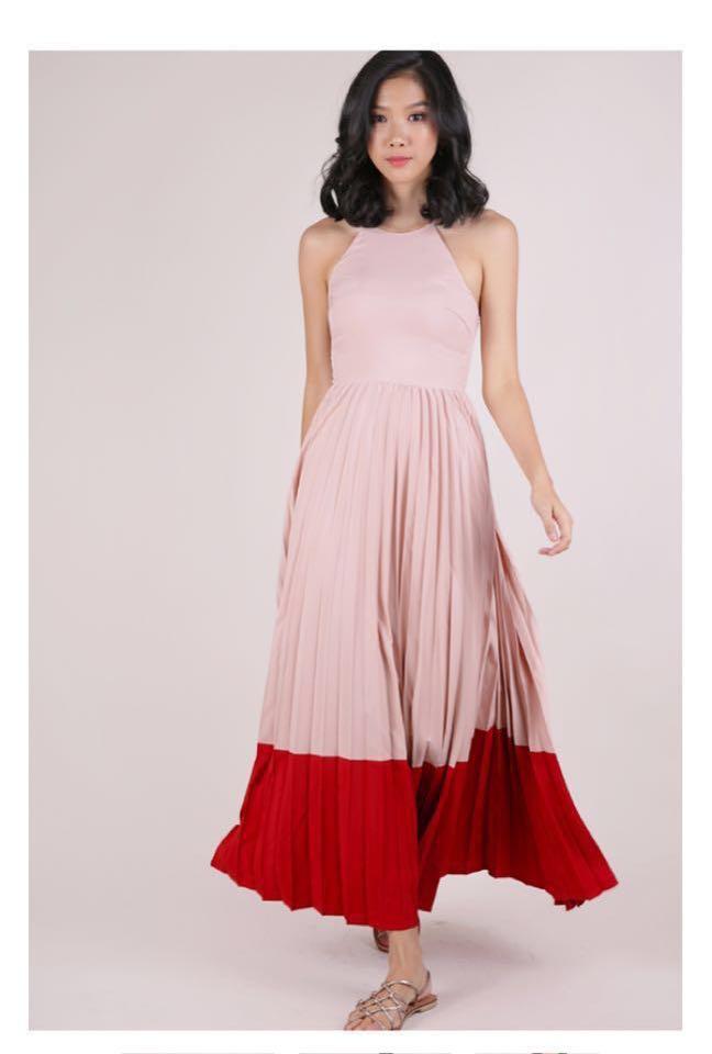 aa84d87a09 Thetinselrack Abe Colourblock Maxi Dress, Women's Fashion, Clothes ...
