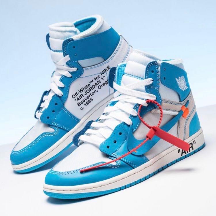 UK 9.5 US 10.5 OFF-WHITE x Nike Air Jordan 1 UNC Blue 11f600da3