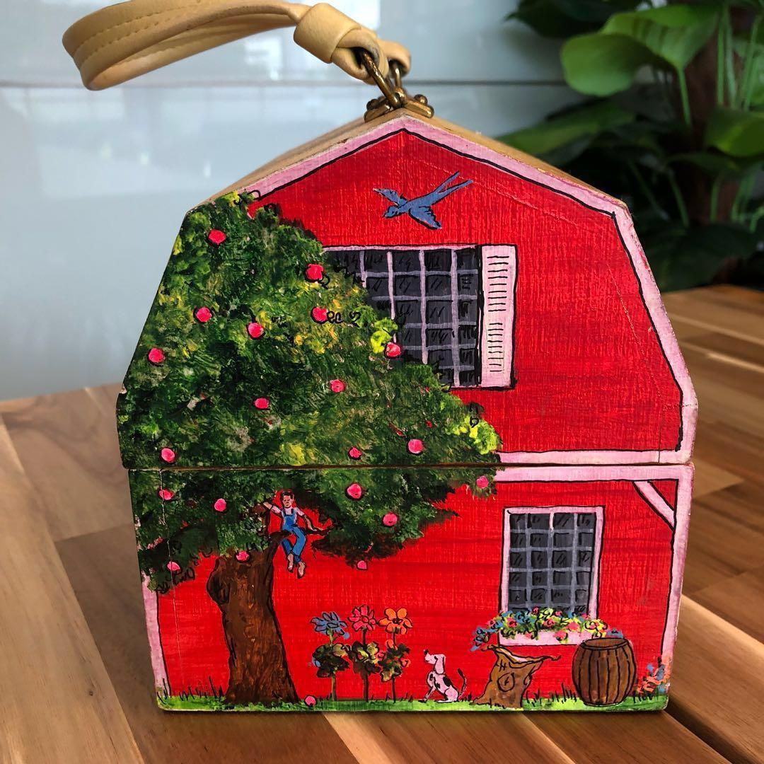 Vintage 1950s Wood Box Bag Signed Farm Life