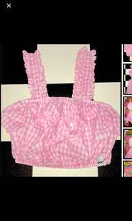 BN authentic omighty gingham the lolita crop bralet top in pink