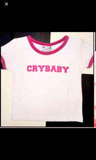authentic omighty crybaby pink ringer crop top in white