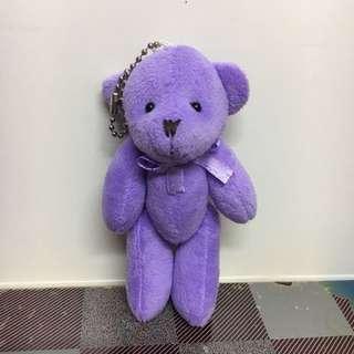 (免費-藍田取) 紫色小熊公仔掛件 吊飾