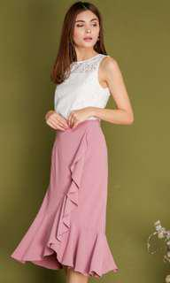 FREDA ASYMMETRICAL RUFFLE SKIRT IN PINK
