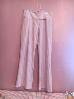 Pink pinstripe flare pants