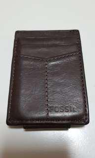 Genuine Leather fossil cardholder with money clip